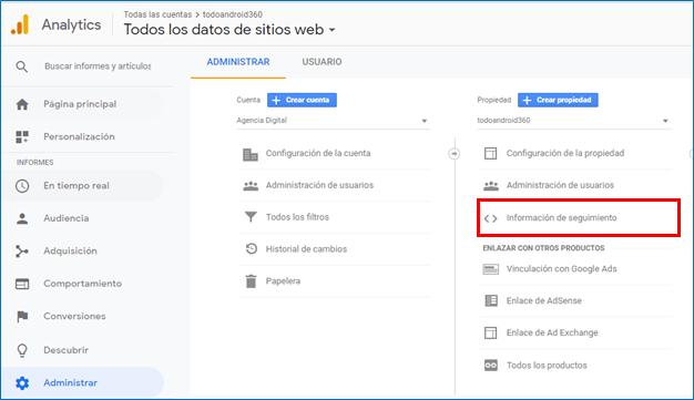 Google Analytics - GrupoDigital360 -Información de seguimiento