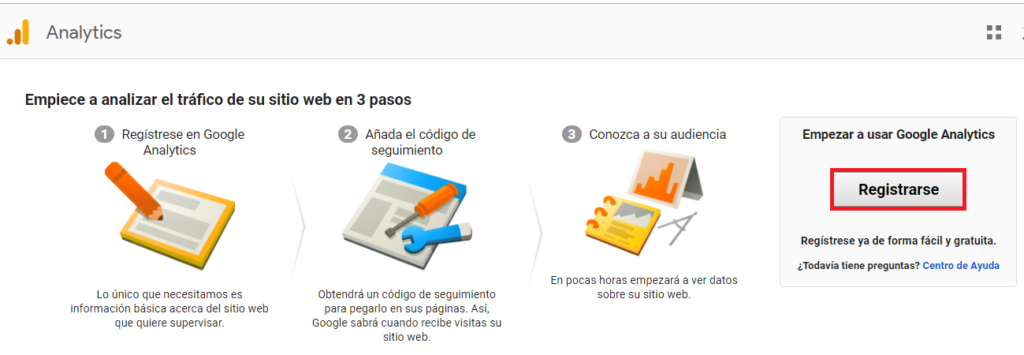 Google Analytics - GrupoDigital360 - Pagina de Registro