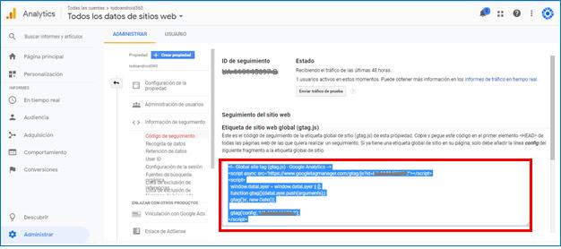 Google Analytics - GrupoDigital360 - código de seguimiento