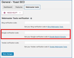 Google Search Consola - YoasTSEO - google verificación de código